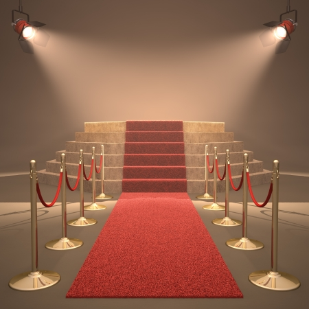 gala: Lights illuminating the podium. Your text in light. Stock Photo
