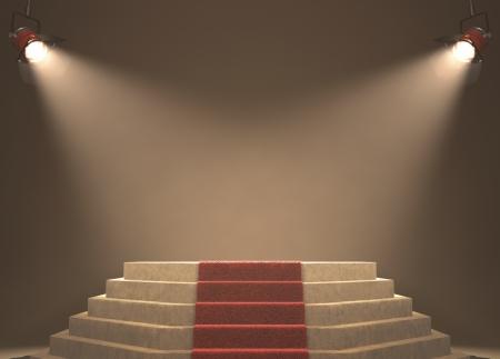 Lights illuminating the podium. Your text in light. Stok Fotoğraf