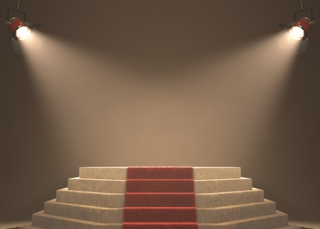 fame: Lights illuminating the podium. Your text in light. Stock Photo