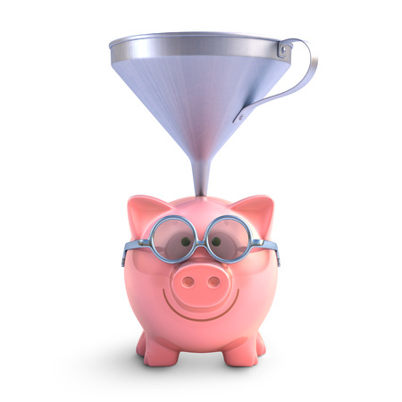 Piggy bank with funnel to get all the coins.  Stock Photo