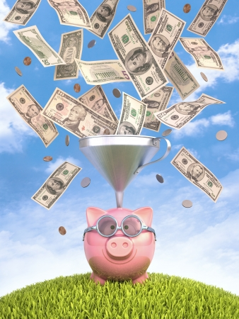 funnel: Piggy bank with funnel to get more money