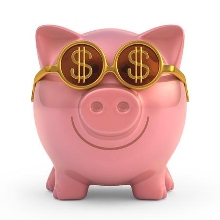 cuenta bancaria: Hucha con gafas de sol con el signo de dinero. Foto de archivo