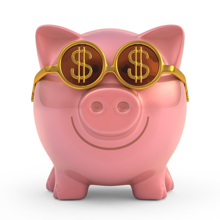 cartoon bank: Piggy bank wearing sunglasses with money sign.