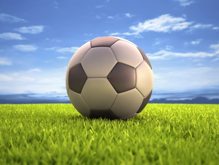 Soccer ball on the field Stock Photo - 23021328