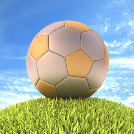 Soccer ball on the grass. With clipping path on the ball. photo