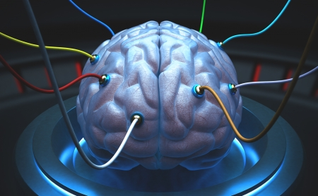 knowledge is power: Brain with cables connected in a test of the power of the mind. Stock Photo