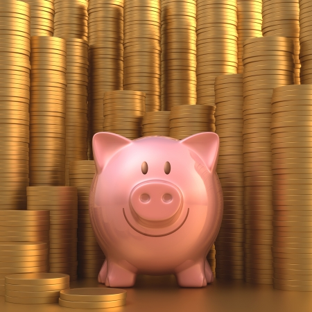 moneyed: Piggy bank with stacks of gold coins in the background