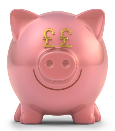 pound coin: Piggy bank with eyes pound sterling sign  Clipping path included