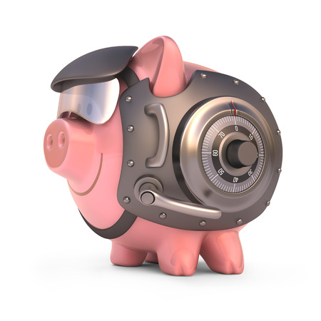 safe investment: Piggy bank secured with steel door and access code  Clipping path included
