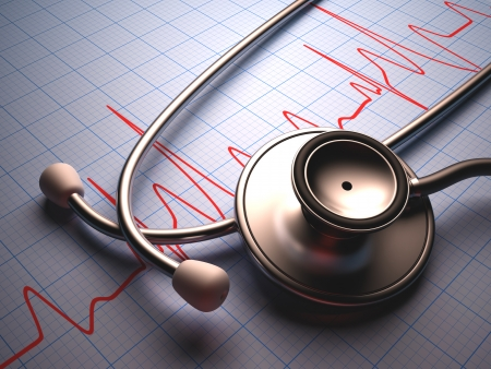 medicare: Stethoscope on a table with a heart graphic  Clipping path included