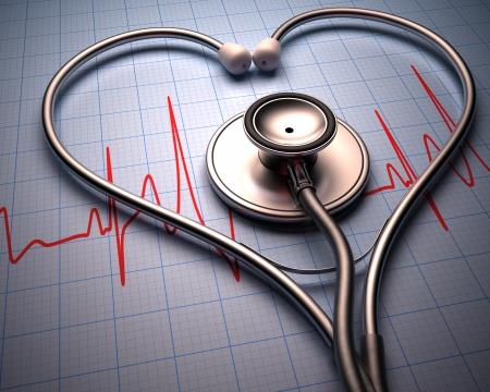 estetoscopio corazon: Estetoscopio en forma de coraz�n en un gr�fico de los latidos del coraz�n del paciente.
