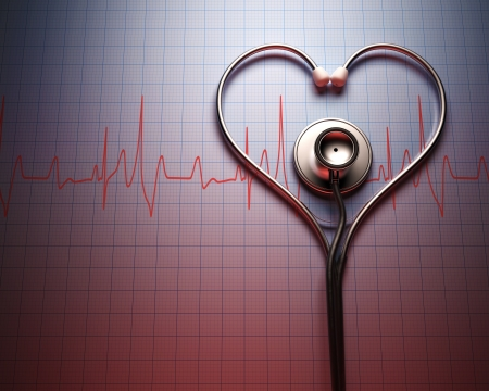 Stethoscope in shape of heart on a graph of the patients heartbeat.
