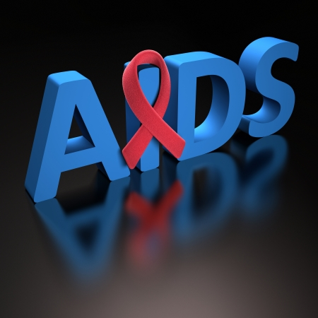 hiv ribbon: Red ribbon, symbol of a commitment to the fight against HIVAIDS Stock Photo