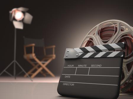 映画の下見板張りのコンセプト。 写真素材