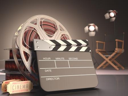 cinta pelicula: Concepto de la tablilla del cine