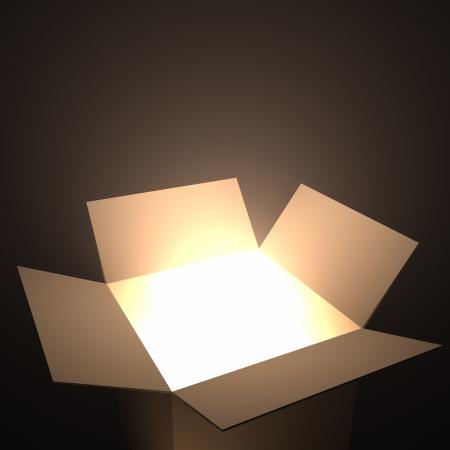 Open doos met licht binnen. Uw tekst komt uit de doos.
