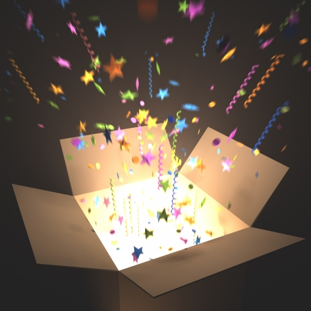 out of the box: Open box with light inside. Your text coming out of the box. Stock Photo