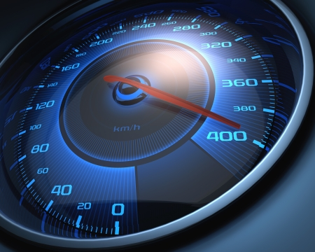 cars race: Speedometer scoring high speed. The limit of speed.