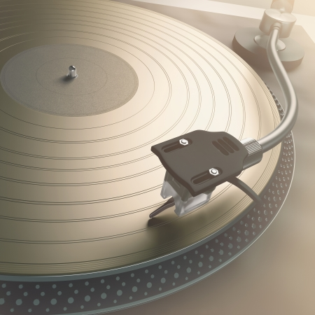 Scratching the gold record with strong backlight  photo
