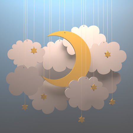 paper cut out: Cut out paper in the shape of moon and cloud. Your text on the clean space. Clipping path included. Stock Photo