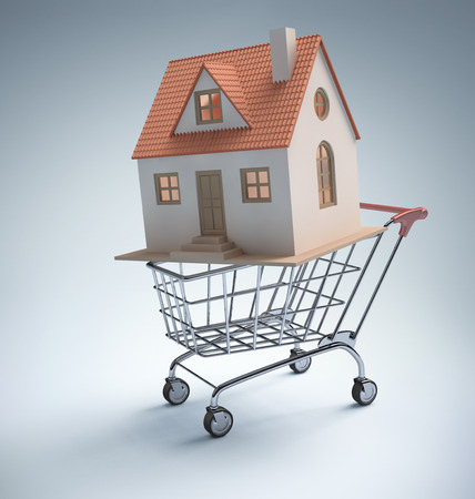 Small house inside the shopping cart. Clipping path included. Stock Photo - 26019131
