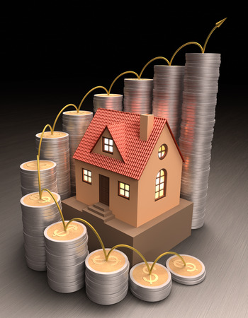 dwelling: Small house surrounded by coins made of gold and silver forming a graph on the rise. Stock Photo