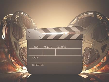 film director: Clapboard with back light. Your name, time and date on clapboard. Stock Photo