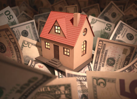 Small house surrounded by money with deph of field. Stock Photo - 26019137