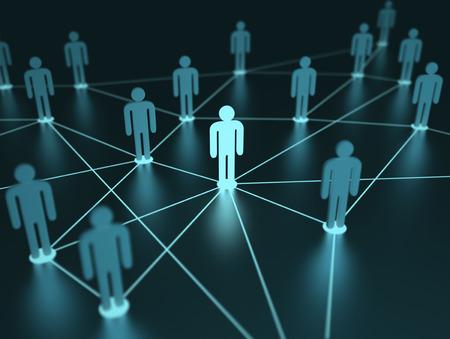 Les gens interconnectés avec la profondeur de champ sur le concept de l'équipe.
