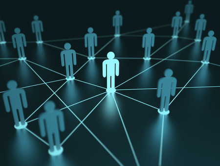 networking people: People interconnected with depth of field on the concept of team.