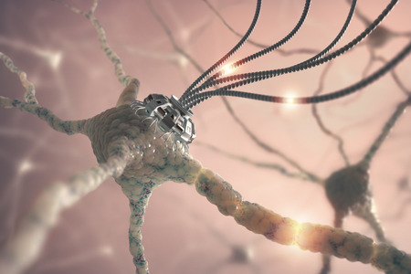 Neural network with one artificial connection in nanotechnology concept. Stock Photo