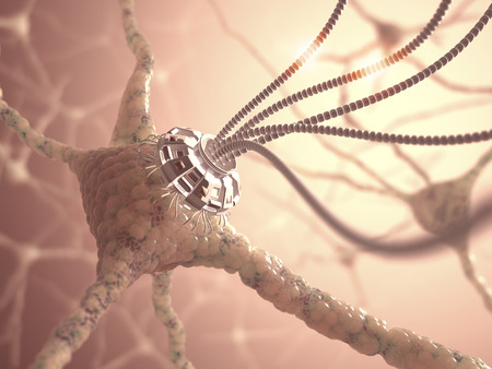 cyborg: Neural network with one artificial connection in nanotechnology concept. Stock Photo
