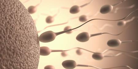 Veel van de zaadcellen naar de eicel. Beeld concept van bevruchting.