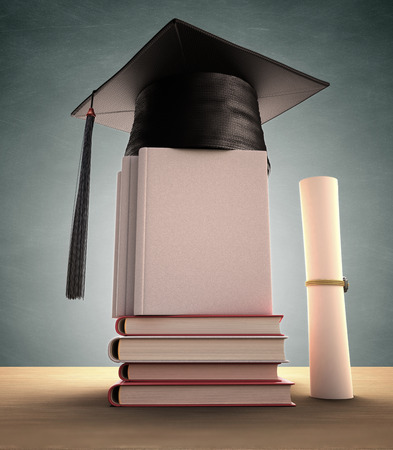 masters degree: Graduation cap over the pile of books. Your image or text on the cover book. Clipping path included.