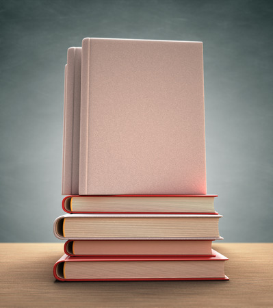 encyclopedic: Several books over the table. Your text or image on the cover. Clipping path included.