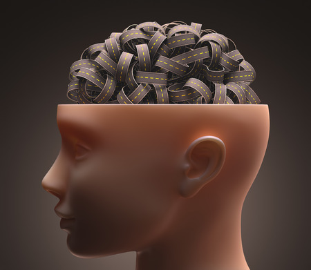 Several highways intertwined forming a human brain. Concept of confused mind. Concept of the complexity of the human brain. Clipping path included. photo