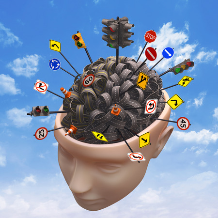 Several highways intertwined forming a human brain. Concept of confused mind. Concept of the complexity of the human brain. Clipping path included. Stock Photo