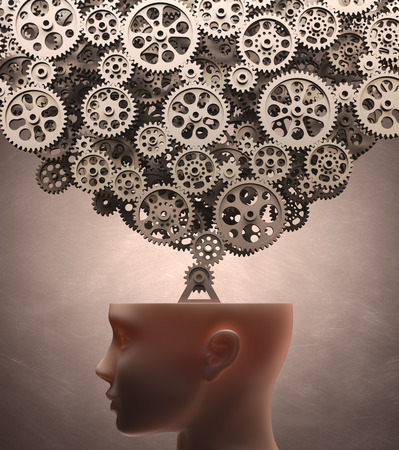 Several gears machine coming out of the head  Clipping path included  photo