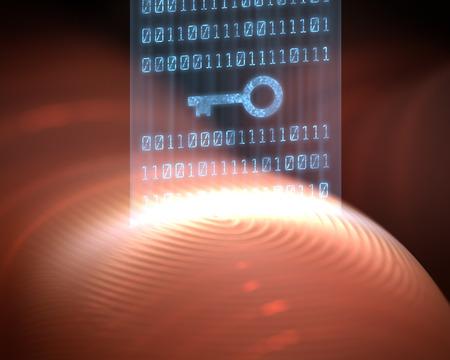 reconocimiento: La lectura de la huella digital con código de acceso válido. Foto de archivo