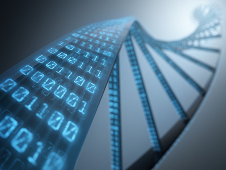 Dna with binary codes. Concept of science technology. photo