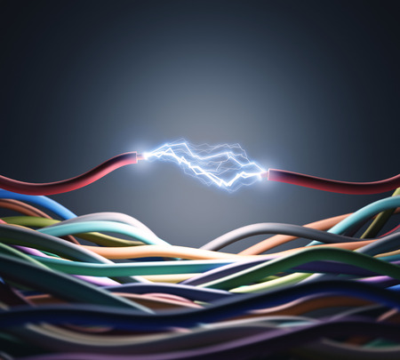 electric: An electric wire cutted, pass through the air a lot of energy.