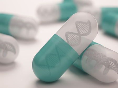 Pill with a dna inside. Concept in genetic breakthrough in drug development. Banco de Imagens