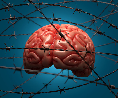human mind: Brain trapped by barbed wire. Concept of the human mind. Stock Photo