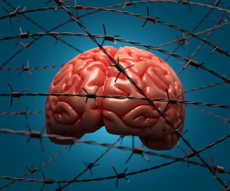 mente humana: Cerebro atrapado por alambre de púas. Concepto de la mente humana.