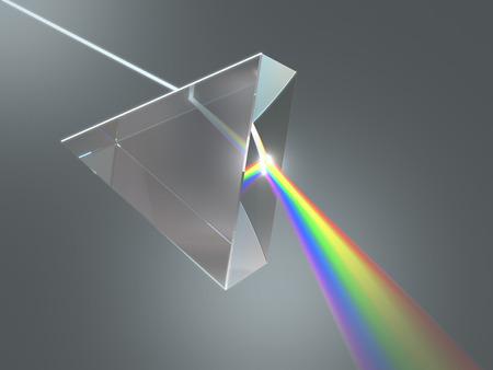 prisma: El prisma de cristal dispersa la luz blanca en los varios colores.