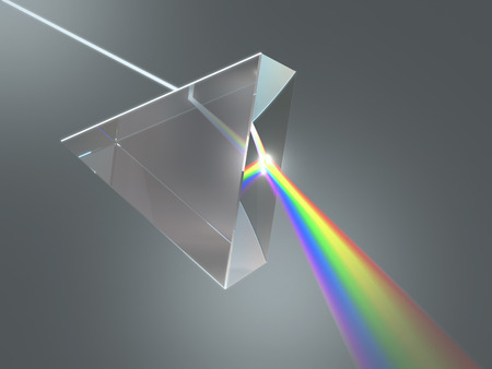 prism: The crystal prism disperses white light into many colors.