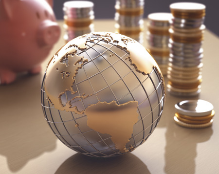 profitability: Planet Earth made of gold and silver on a concept of the business world.