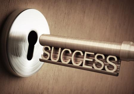 De sleutel van het succes dicht bij de deur te openen. Stockfoto