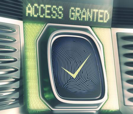 lock  futuristic: Lettore di impronte digitali accesso concessione Concetto di tecnologia biometrica