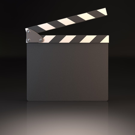 film director: Clapperboard on a black reflective background. Your text or image on the clapperboard. Stock Photo